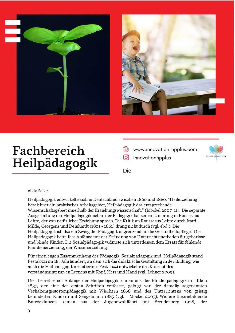 Beispiel Bild aus dem eBook des Schnupperkurses als kleiner Einblick. Die Geschichte des Fachbereichs der Heilpädagogik wird beschrieben.