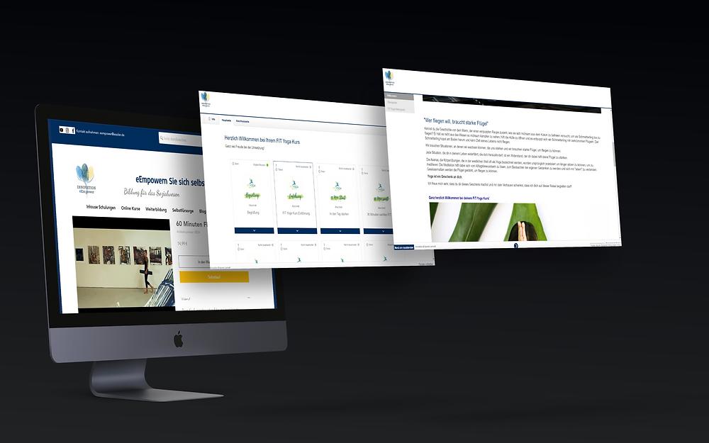 Es ist ein Computerbildschirm mit drei Vorschaubildern der eEmpower Homepage dargestellt.