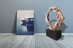 Cyanotype with driftwood sculpture