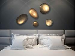 Gold rocks room scene