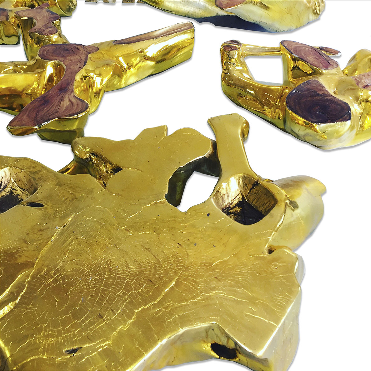 Driftwood section in gold leaf