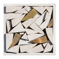 White and Gold Wood Sculpture square