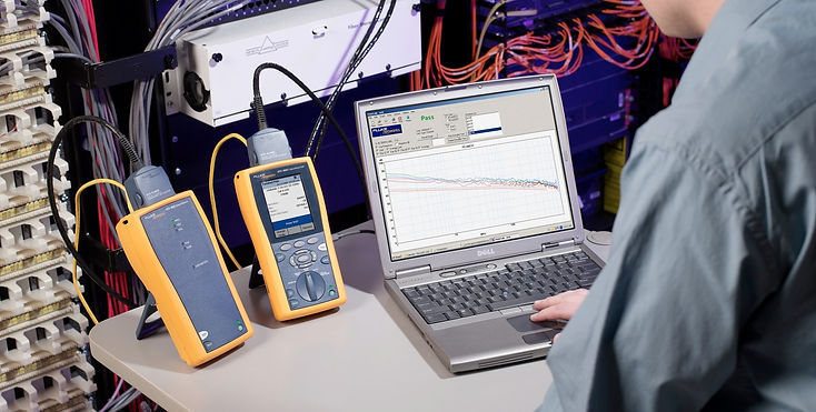 Photo of running a fluke wiring test