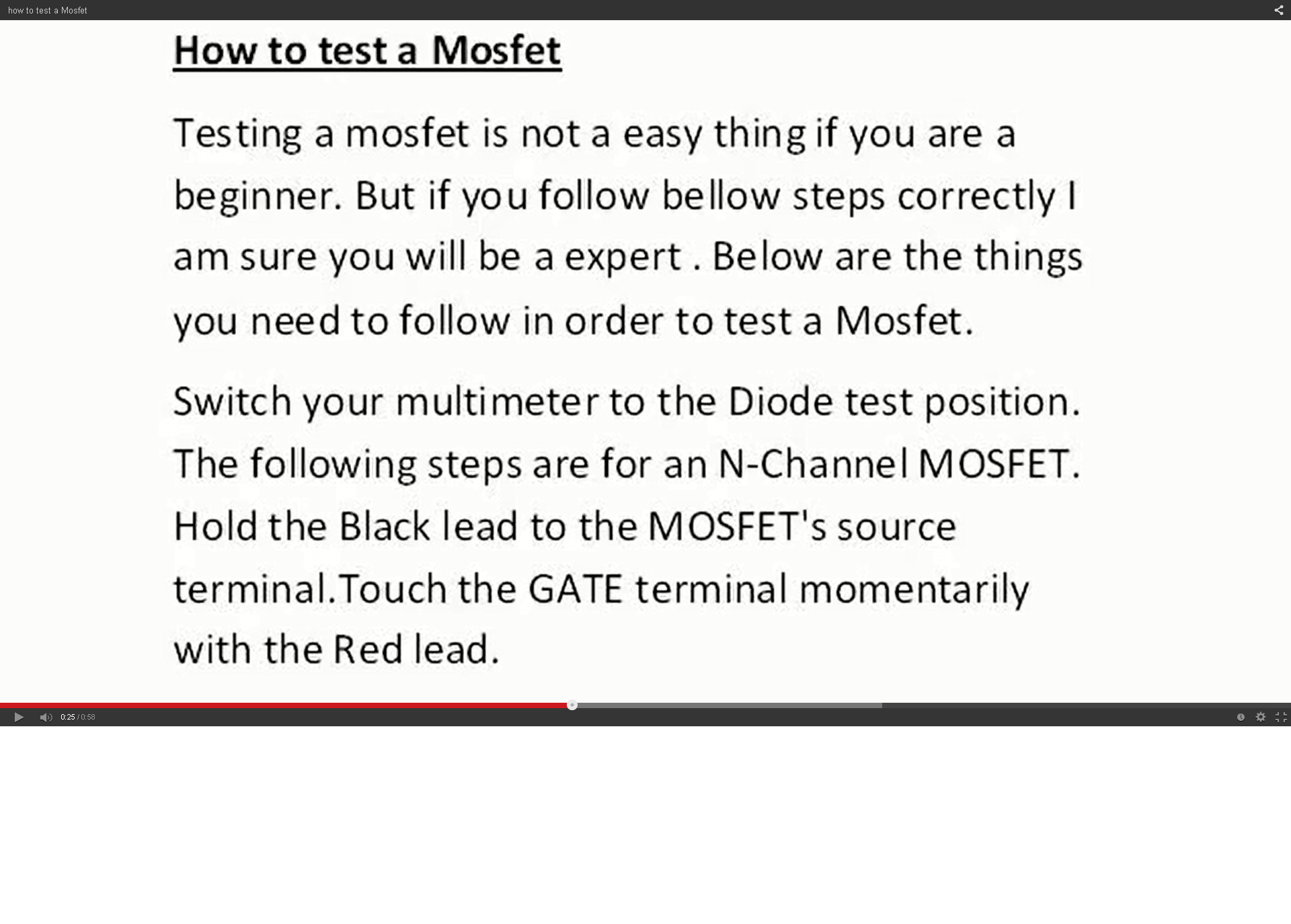 test mosfet correctly 1