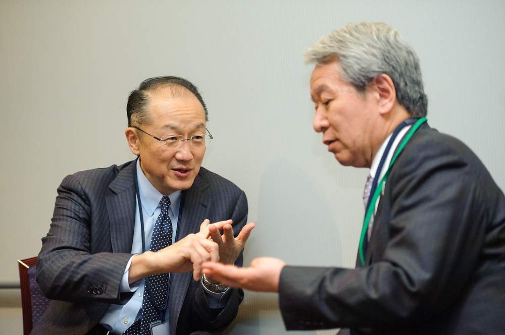 World Bank Group President Jim Yong Kim meets with Dr. Akihiko Tanaka, President of Japan International Cooperation Agency (JICA)  March 14, 2015 - Sendai, Japan. World Bank Group President Jim Yong Kim meets with Dr. Akihiko Tanaka, President of Japan International Cooperation Agency (JICA) , on the sidelines of the Third UN World Conference on Disaster Risk Reduction (WCDRR) in Sendai, Japan. Photo: Antony Tran / World Bank Group