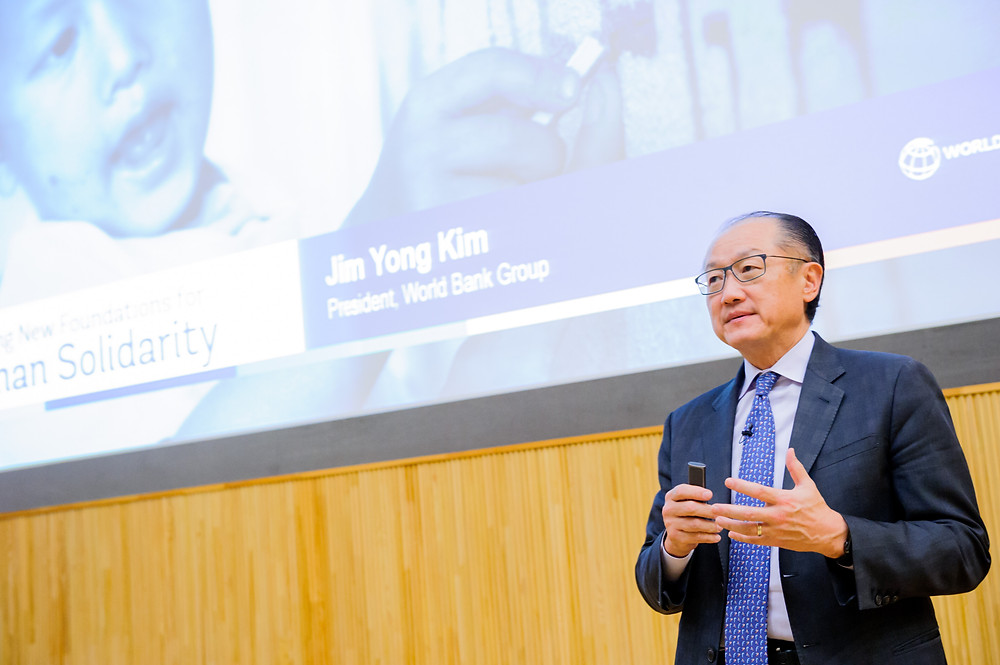 "World Bank Group President Jim Yong Kim speaks at Public Forum at the University of Tokyo  December 14, 2017 - Tokyo, Japan. World Bank Group President Jim Yong Kim speaks at the public forum ""Disrupting Development through Science, Technology and Innovation"" at the University of Tokyo. As part of the UHC Forum, the event is co-organized by World Bank Group and the University of Tokyo to discuss how the appropriate use of STI (Science, Technology and Innovation) can accelerate progress towards the achievement of the Sustainable Development Goals (SDGs) and the World Bank Group twin goals to end extreme poverty by 2030 and promote shared prosperity. #HealthforAll #UHCForum Photo: Antony Tran / World Bank"