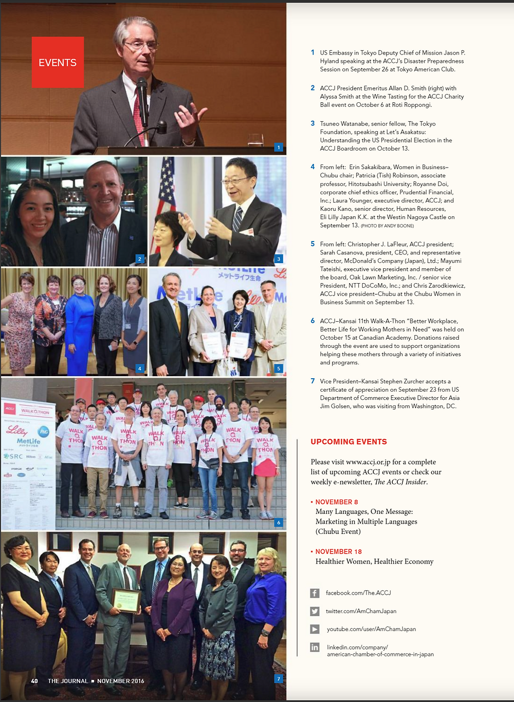 ACCJ the Journal November 2016 - Page 40 Date: Tuesday, September 13, 2016 Time: 1:00pm - 8:00pm Venue: The Westin Nagoya Castle  Speaker: Kaoru Kano (Senior Director, Human Resources, Eli Lilly Japan K.K.), Laura Younger (Executive Director, ACCJ), Masako Arakane (President, Qualia Inc.), Mayumi Tateishi (Vice President, Oak Lawn Marketing, Inc.), Patricia (Tish) Robinson (Associate Professor, Hitotsubashi University), Rita Chhabra (Regional Director, Northeast US, Catalyst Inc.), Royanne Doi (Corporate Chief Ethics Officer, Prudential Financial, Inc.), Sarah L. Casanova (President and CEO, Representative Director, McDonald's Company (Japan), Ltd.), Tsukiko Tsukahara (Vice President, Catalyst Japan)  Hosting Committee(s): Chubu - Women in Business  ACCJ Chubu invites you to the Chubu Women in Business Summit. We are pleased to be hosting this, our third annual event, at the Westin Nagoya Castle on September 13 for a half day of influential speakers and hands-on workshops facilitated by leaders in their fields who are creating change and making space for more inclusive and diverse organizations. Building on the last two years and joining forces with both the Tokyo and Kansai Women in Business Committees, the Chubu Chapter is especially committed to providing opportunities for attendees to communicate, ask questions, and learn useful tools for becoming change makers in their own organizations. How do biases affect our organizations and how can we overcome those that are harmful? How can we create change from the bottom up? How can mentors affect our work life and play a role in organizations? These are just some of the topics that will be discussed.Click here to view the event program. Not for women only, these discussions need to be heard and had by men and women alike if we are to truly make a difference and create inclusion. Please sign up early. Seats are limited and an event like this only happens once a year.  Erin Sakakibara, Chair Nao Geisler, Vice Chair ACCJ