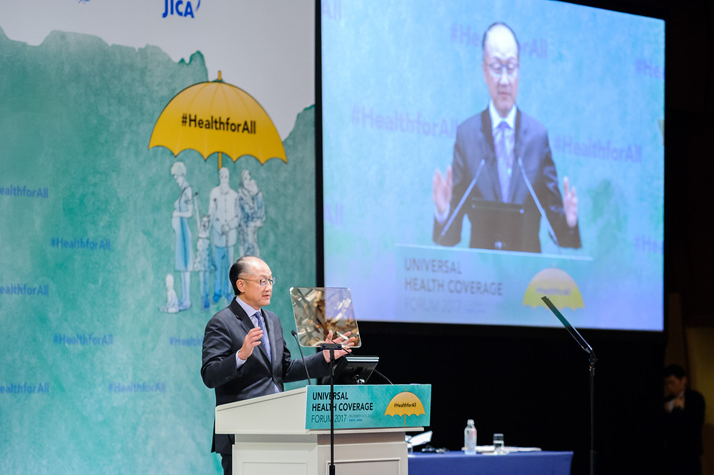 World Bank Group President Jim Yong Kim delivers a speech at opening session of UHC Forum  December 14, 2017 - Tokyo, Japan. World Bank Group President, Jim Yong Kim makes opening remarks at Universal Health Coverage (UHC) Forum 2017, co-organized by the Government of Japan, Japan International Cooperation Agency (JICA), the World Bank Group, WHO, UNICEF and the International Health Partnership for UHC2030 (UHC2030), in Tokyo, Japan. The key objective of the forum is to stimulate global and country-level progress towards UHC, including pandemic preparedness, through the joint review of UHC progress and sharing of country experiences. #HealthforAll #UHCForum Photo: Antony Tran / World Bank