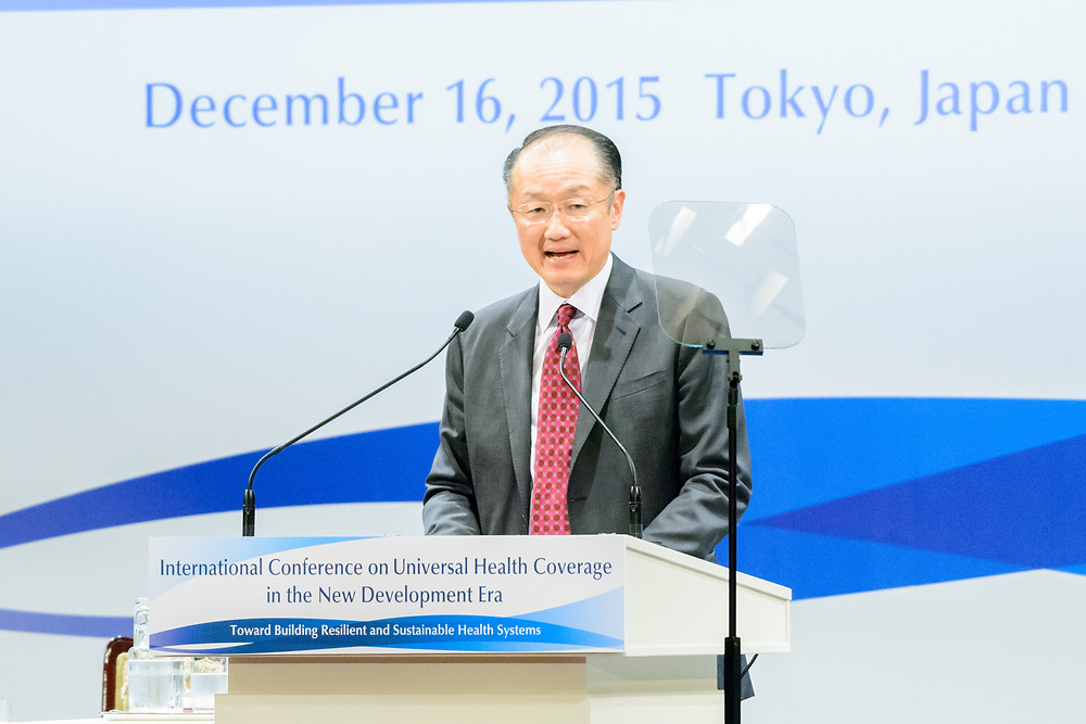 "World Bank Group President Jim Yong Kim delivers opening remarks at the International Conference on Universal Health Coverage  December 16, 2015 - Tokyo, Japan. World Bank Group President, Jim Yong Kim delivers opening remarks at the International Conference on ""Universal Health Coverage in the New Development Era: Toward Building Resilient and Sustainable Health Systems"". Photo: Antony Tran / World Bank"