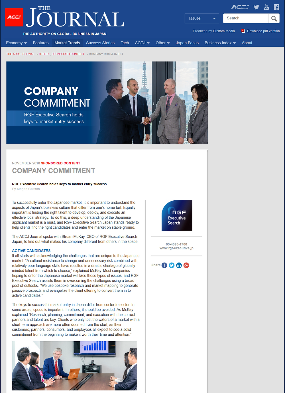 ACCJ The Journal - COMPANY COMMITMENT- RGF Executive Search holds keys to market entry success