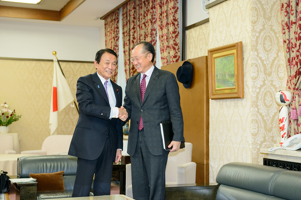 World Bank Group President Jim Yong Kim meets with Japanese Deputy Prime Minister and Finance Minister Taro Aso  December 16, 2015 - Tokyo, Japan. World Bank Group President Jim Yong Kim meets with Japanese Deputy Prime Minister and Finance Minister Taro Aso. Photo: Antony Tran / World Bank