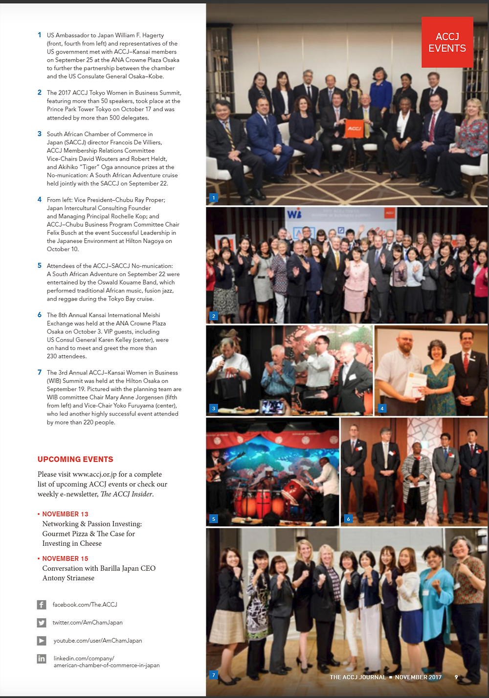 """ACCJ the Journal November 2017 - Page 9  2017 ACCJ Tokyo Women in Business Summit  Date: Tuesday, October 17, 2017 Time: 09:00 - 17:30 Registration opens 08:45; Doors open 09:00 Cocktail Reception 17:30 - 19:00  Venue: Prince Park Tower Tokyo Hosting Committee: Women in Business Committee  Event Overview: The theme of this year's ACCJ Tokyo Women in Business (WIB) Summit is """"breaking the mold."""" Come join us in our bid to provide practical solutions and advice on how to implement programs and policies that will, over time, lead to an increase in the number of women in management. For details, please see the ACCJ WIB Summit website here.  Speakers - Ms. Teiko Kudo, Managing Executive Officer, Deputy Head of Wholesale Banking Unit, Deputy Head of Financial Solution Unit, Growth Strategy Promotion Project Team, Sumitomo Mitsui Banking Corporation - Mr. Yoichi Miyamoto, Chairman of Shimizu Corporation - Dr. Denise Rutherford, President of 3M Japan Holdings G.K. and 3M Japan Limited; Chairman of 3M Japan Products Limited. Moderator - Mr. Makoto Kuwahara, Chief Country Officer, Deutsche Bank Group  Breakout session topics: ・ Building your brand: Creating a Memorable Professional Identity ・ Returning to the workforce: Changing Internal and External Perceptions ・ Ikuboss/Ikumen: How Diversity Benefits Men and Organizations Too ・ Inclusive leadership: Getting More out of Diversity ・ Ageless workforce: Profile of an Employee c2030 ・ Inequality in HR systems: How Not to Maintain the Status Quo ・ Workstyle reform: Turning a Future Vision into Current Reality ・ Entrepreneurship: Redefining Personal Success ・ Leveraging inclusion for innovation: How Diversity Benefits Your Business Too  Training sessions: ・ Managing Unconscious Bias  ・ Getting What You Need in the Workplace  This event is expected to fill up extremely quickly, so please be sure to register early. Please note that breakout sessions will be unassigned, and seats for each session will be available on a first-come, fi"""