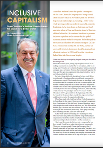 JULY 2018 INTERVIEW  Inclusive Capitalism Dow Chemical's Andrew Liveris shares his vision for a better world  By C Bryan Jones  Australian Andrew Liveris has guided a resurgence of The Dow Chemical Company since being named chief executive officer in November 2004. His devotion to personal relationships and creating a better world while growing profits is a model of successful corporate leadership. As he steps down as chairman and chief executive officer of Dow and from the board of directors of DowDuPont Inc., he continues his efforts to promote inclusive capitalism and to ensure that the global economic system works for everyone. Before he spoke at the American Chamber of Commerce in Japan (ACCJ) CEO Forum event on May 30, The ACCJ Journal sat down with Liveris to learn more about his journey from chemical engineer to CEO, and how that experience helped him take Dow to new heights.  https://journal.accj.or.jp/inclusive-capitalism/   The ACCJ - 在日米国商工会議所  http://www.accj.or.jp