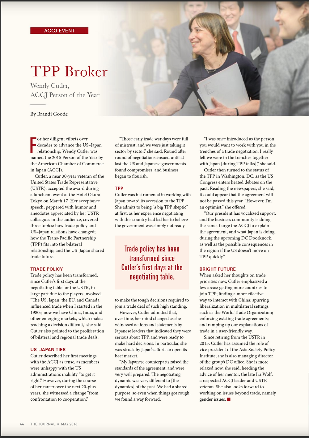 ACCJ The Journal - Wendy Cutler - TPP Broker - Person of the Year