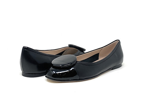 BUCKLES   ARTI   BLACK LEATHER/PATENT TIP
