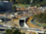 View down on construction site - a tunne