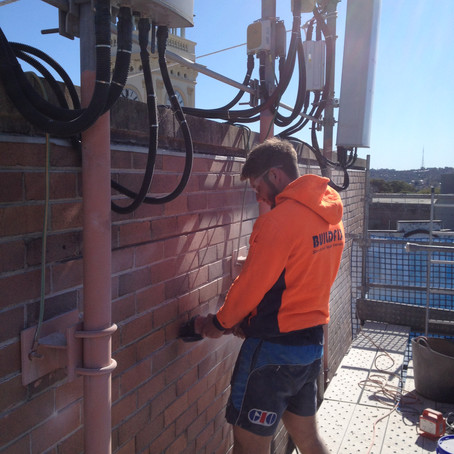 Brick Wall Strengthened For New Mobile Phone Masts Installation At Telstra Exchange Balmain