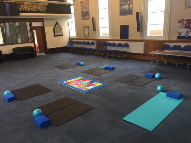Our lovely pilates hall, setup for a postnatal class. You get 2 mats and lots of space
