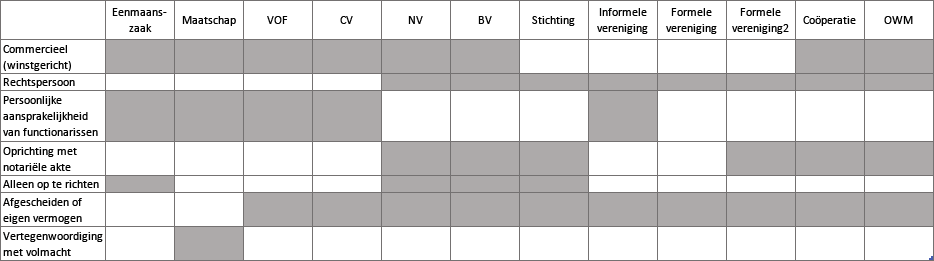 Verschillende soorten rechtsvormen