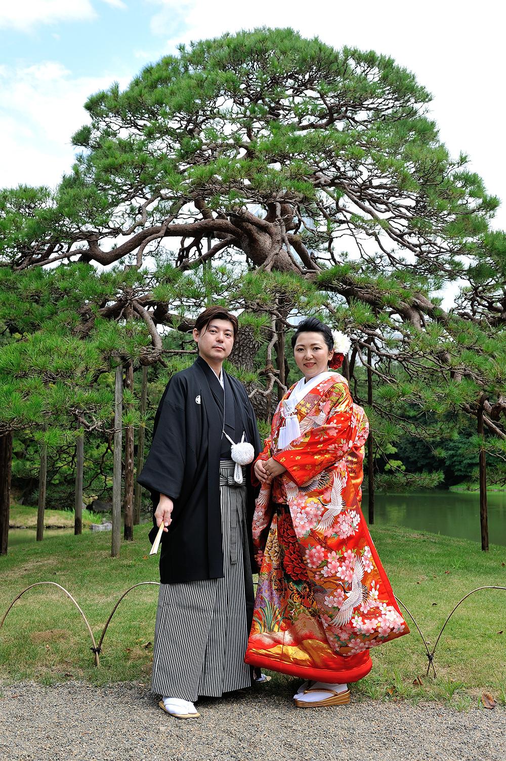 小石川後楽園で婚礼写真