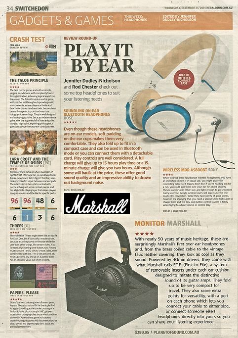Marshall Monitor headphones - Herald Sun Review - PLANET of SOUND