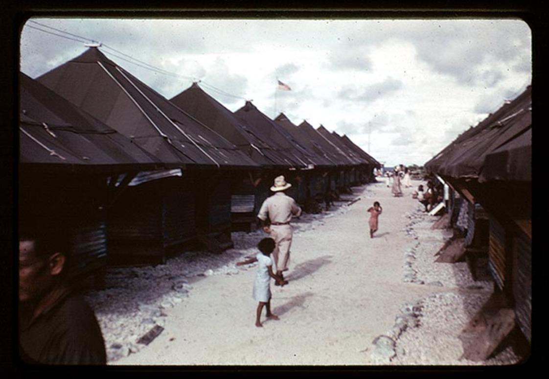 Tent City at Kawajalein, Photo by Leonard Mason, Robert C. Kiste Collection, UHawaii, Manoa