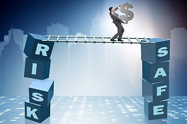 Businessman in risk and reward business