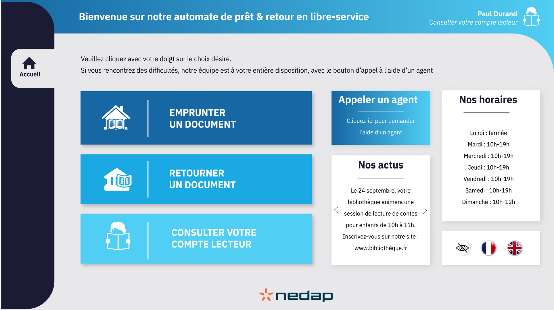 Page d'accueil automate