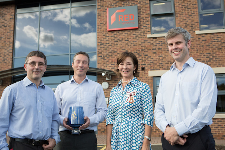 THE Duchess of Northumberland presents the Queen's Award for Enterprise in Innovation to RED Engineering's (l – r) Richard Kent, Joe Orrell and Toby Bailey