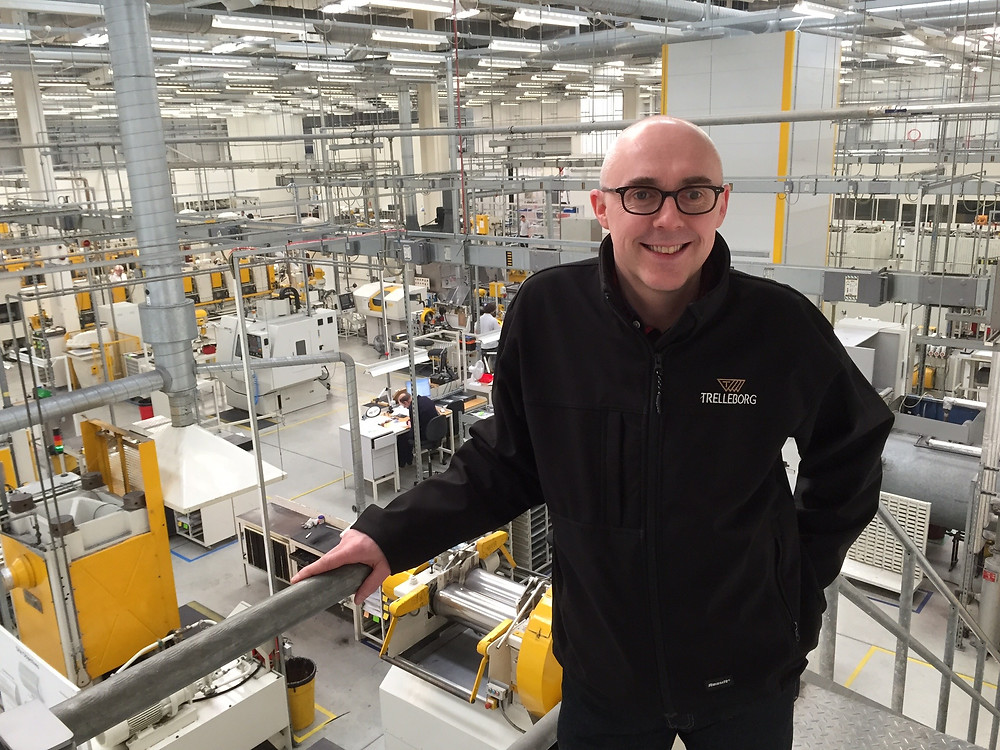 Trelleborg's Chris Busby at the Isolast Production Facility in Tewkesbury