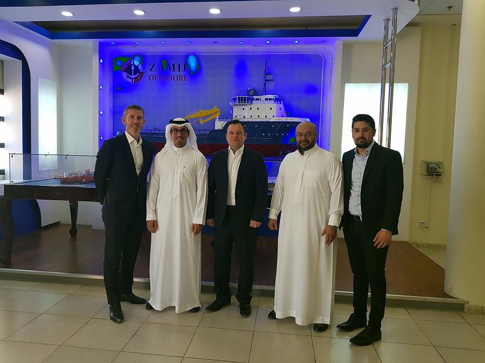 Bill Hickie (UTEC), Nasser F. Al Hazzani (Zamil Offshore Services), Stuart Cameron (UTEC), Wail Alshamlan (Zamil Offshore Services), Nadir Rahmatullah (UTEC).