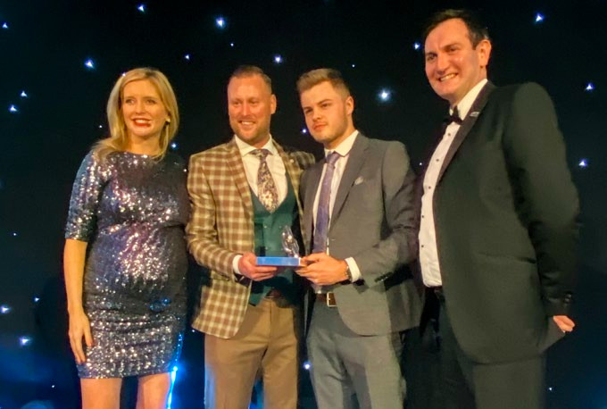 LEEA, Apprentice of the Year Award 2019 – Sponsored by Bridger Howes Limited Left to right: Rachel Riley, Richard Howes (Bridger Howes), Harley Avery (DLM), Ross Maloney (LEEA)
