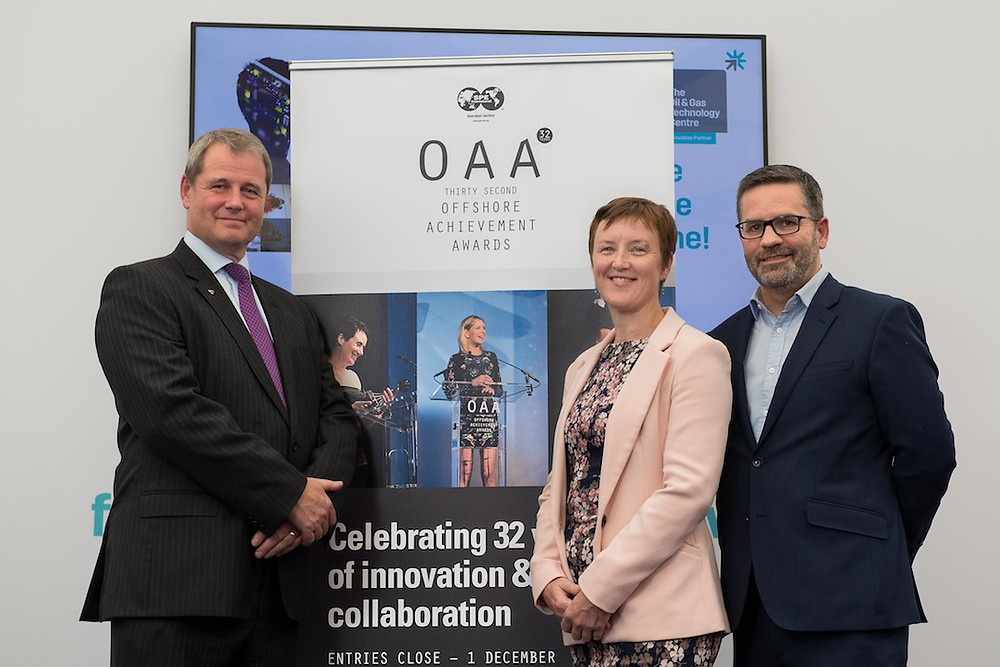 From left to right: Donald Taylor (Acting Managing Director at TAQA), Brenda Wyllie (SPE Aberdeen Section Vice-chair), Stephen Sheal (Director of External Relationships at The Oil & Gas Technology Centre)