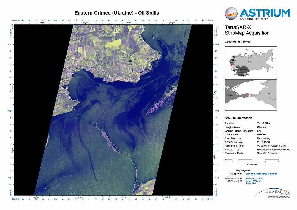 TerraSAR-X Satellite Data - Oil Spills Detection in the Strait of Kerch, Ukraine © DLR e.V. 2007, Distribution Airbus DS Geo GmbH