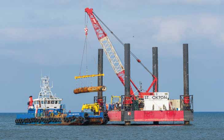 The beam places the TBM on a multi-cat for return to Buckie Harbour.