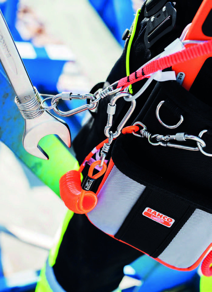 Bahco carabiners, tool fixing lanyards guard against dropping tools from height.