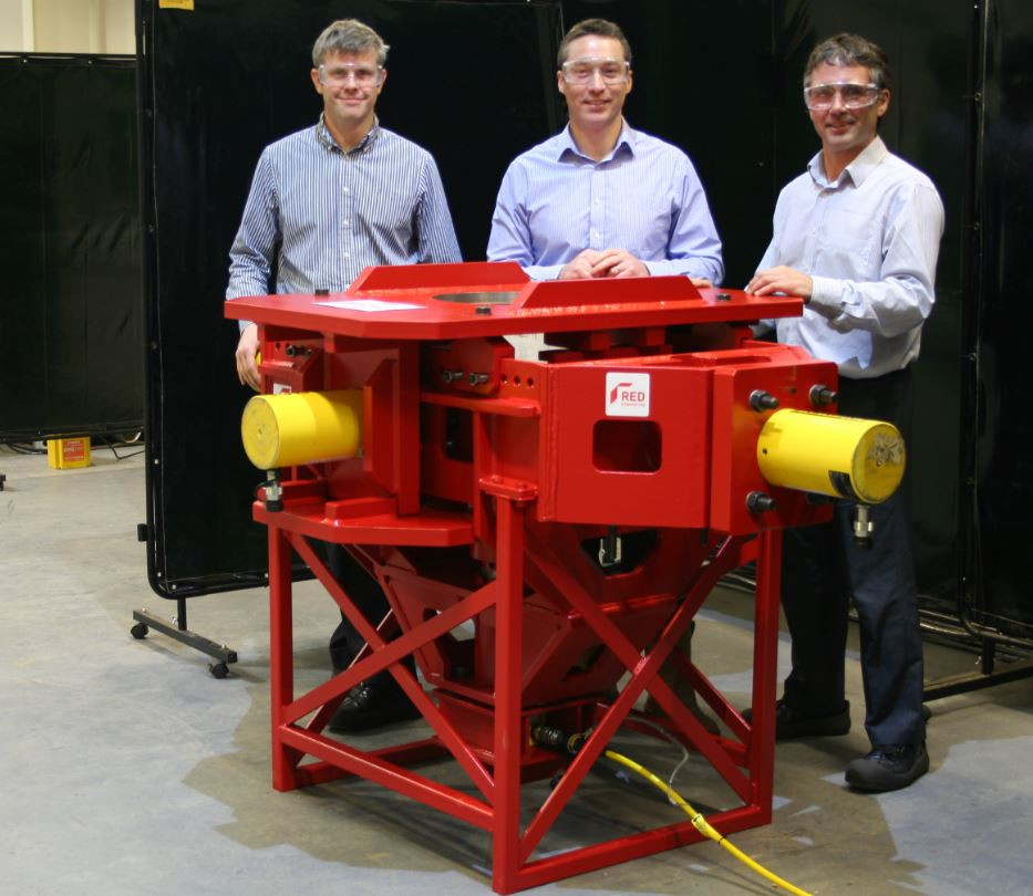 Directors l -r Toby Bailey, Joe Orrell and Richard Kent with the upgraded test rig that will boost the firm's services and capabilities