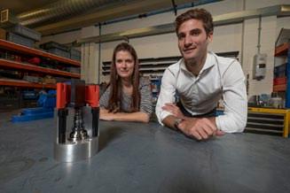 LB Bentley R&D Design Engineer Noelle Sears with Trelleborg's Antoine Charrier