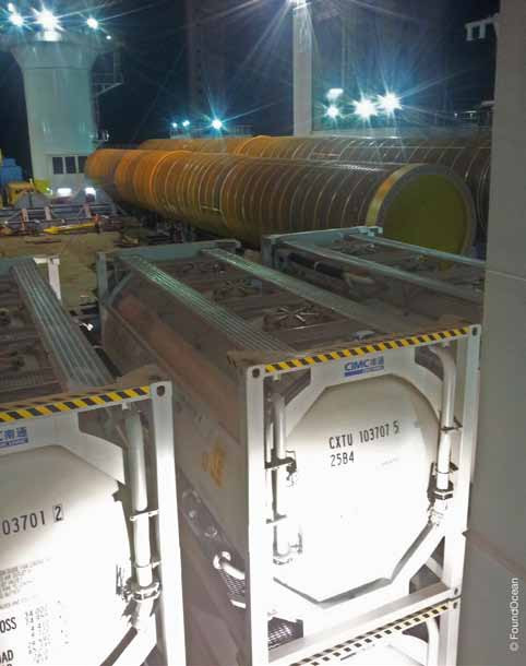 ISO tanks containing Parex 100 Newton AW grout being transported on board a supply ship. Image copyright of Found Ocean.