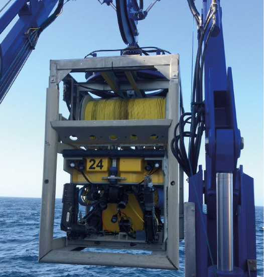 Film Ocean's Comanche ROV launching during recent project.