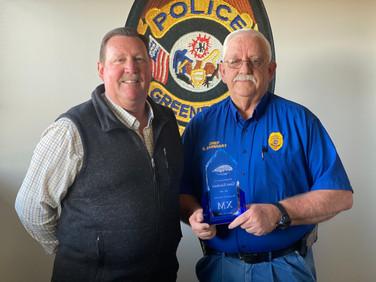 Mayor Hartwick honors Chief Earnhart with XM Award