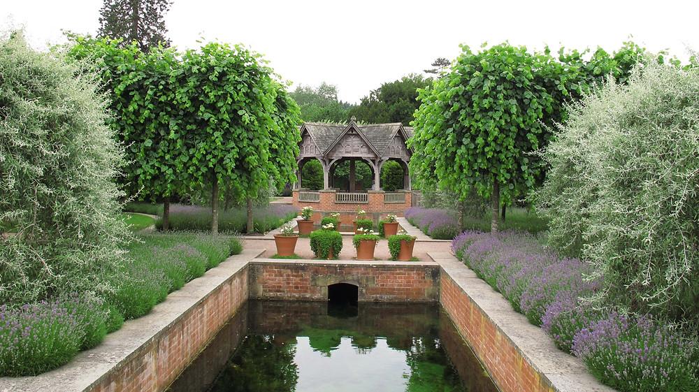 lavender, gazebo, water garden, pool, weeping pear, simon dorrell, andrew wheeler, bridge, garden,