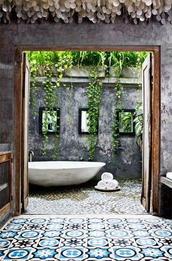 outdoor bath, spa, tiles, outside bathing,