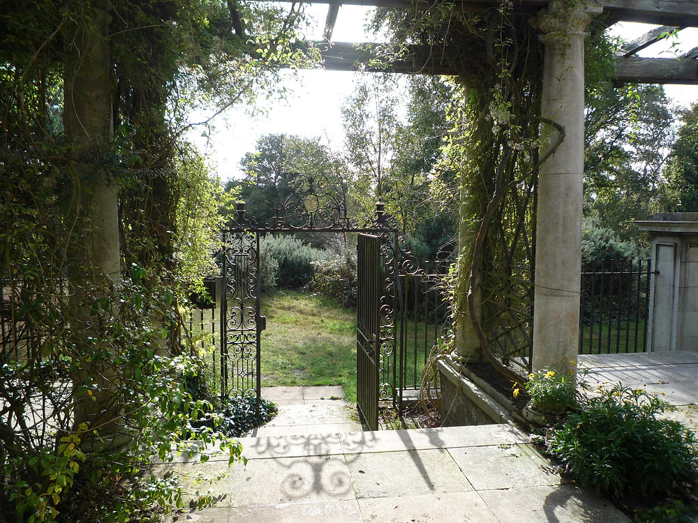 wrought iron gate, hampstead heath , hill gardens, pergola, highgate, paving, heath extension