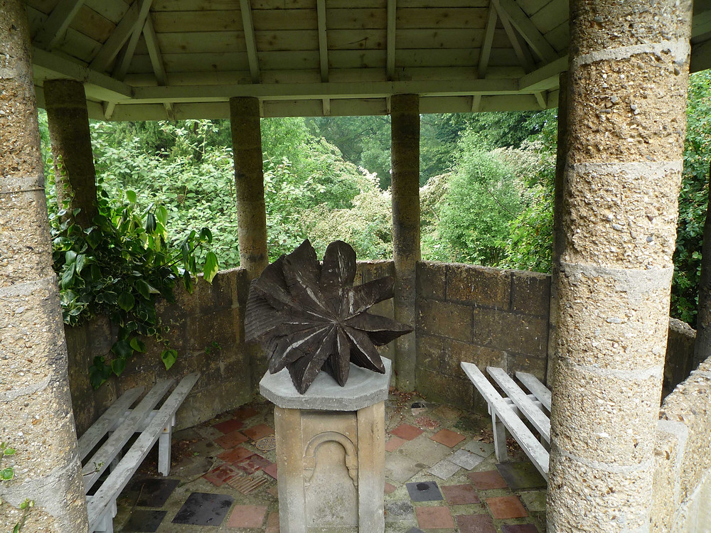 gazebo, sculpture, wooden, benches, view, gibberd garden, tiled floor