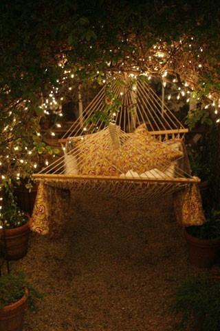 romantic, hammock, outside, bed, lighting, cushions,