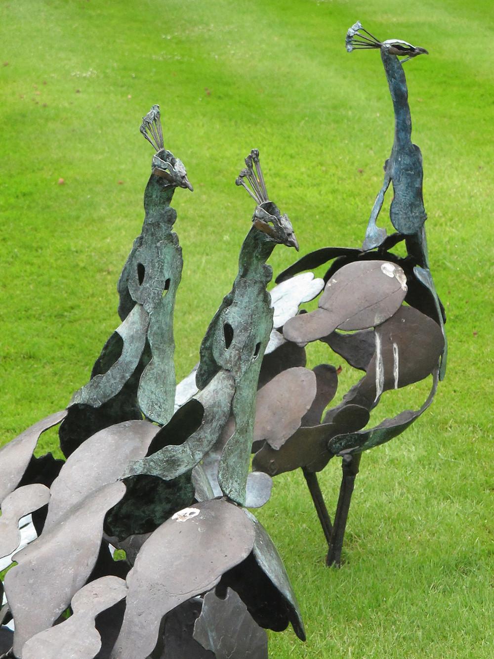 garden sculpture, peacocks,