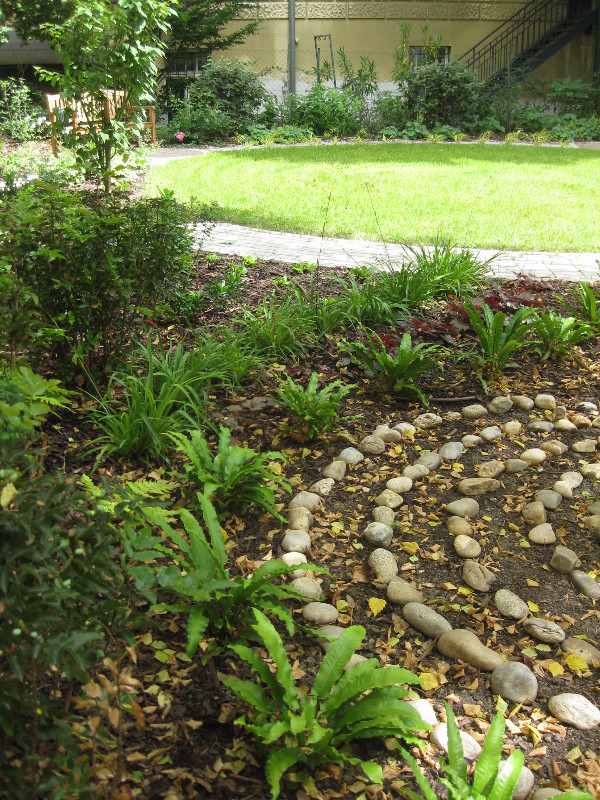 grasses, pebble sculpture, circular lawn, acer griseum,