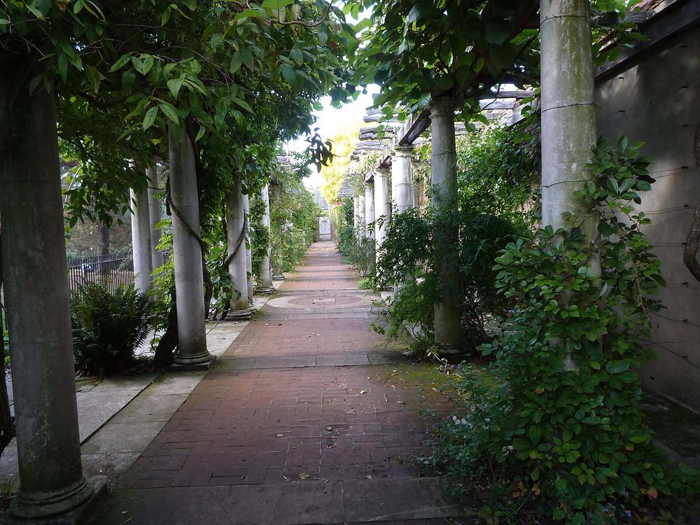 pergola, romantic, garden, ruin, hampstead heath, garden visit, climbers, tiled floor, raised walkway, atmospheric,