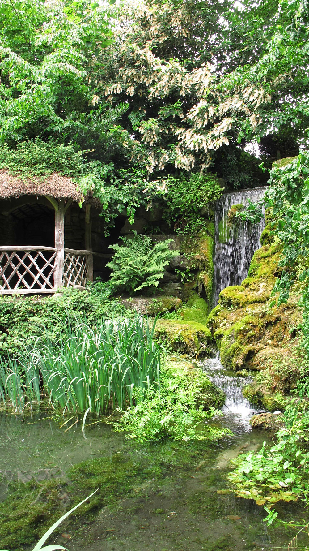 secret garden, waterfall, gazebo, pond, moss, romantic garden, water garden, hampton court,